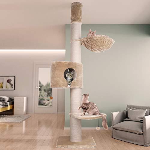 Happypet Kratzbaum Grosse Katzen XXL, Giant CAVE Tower I, für große schwere Katzen (Main Coon), 8mm Sisal, 17cm Säulen, 45cm Liegemulde, 275cm Deckenhoch Creme