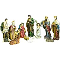 Flambeaux cr278- Conjunto de 11sujets de Belén de 21cm–Figuras de Navidad pintadas a Mano pátina Antigua