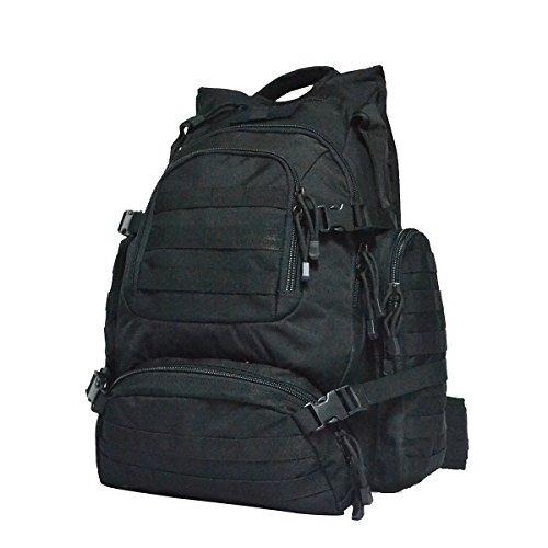 Imagen de yakeda® alpinismo al aire libre los hombres y las mujeres del bolso del bolso de camuflaje bolsa de hombro de gran capacidad bolso  táctica impermeable al aire libre  militares 60l  a88042 black