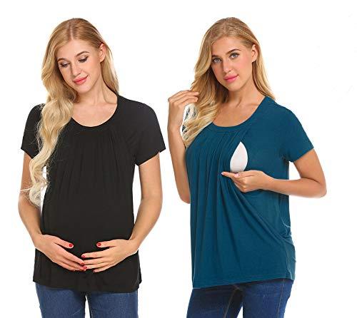 UNibelle Donna Maglia Premaman Allattamento Maglieria per maternità Shirt Corta Maglietta Casual Top Manica Corta Nero+Blu