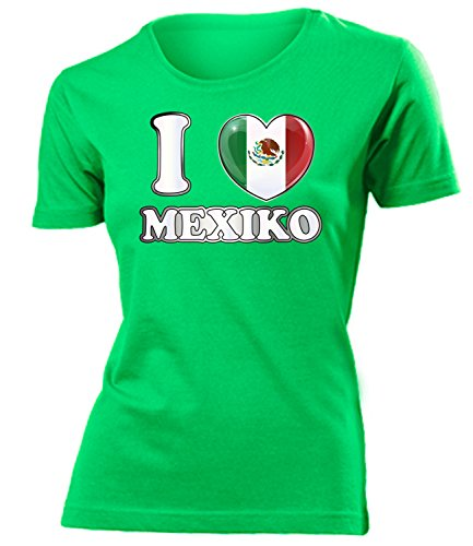 I Love Mexiko 6017 Fussball Fanshirt Damen Fun-T-Shirts Grün M -