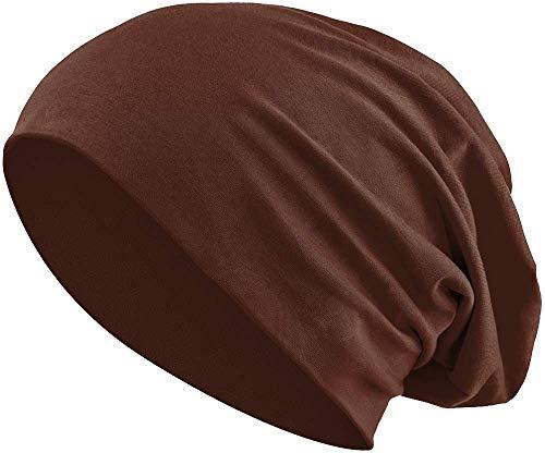Jersey Baumwolle elastisches Long Slouch Beanie Unisex Mütze Heather in 35 (3) (Brown)