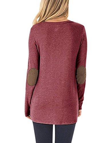 Helury Pullover Damen, Einfarbig Oberteile Sweatshirt Elegant Langarmshirt Rundhals Frauen Langarm T-Shirt Bluse Oversize (S-XXL) Weinrot