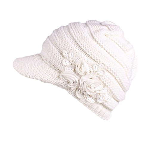 MCYs Damen Mädchen Strickmütze Wollmütze Wärmer Ski Hüte Beanie Hüte Winter,Mehrfarbig (Weiß) (Kiesel Tuch)