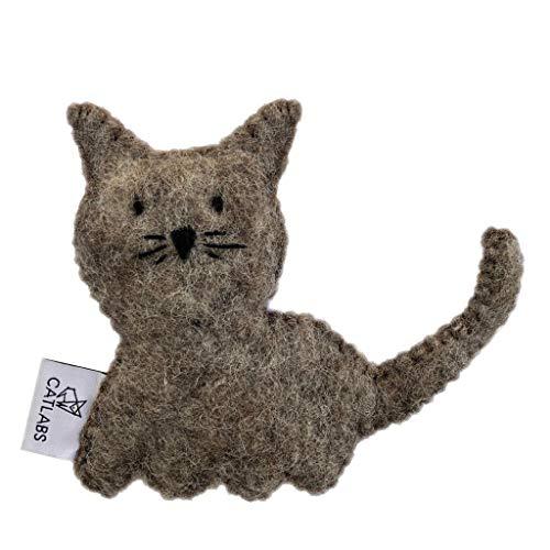 CATLABS Premium-Katzen-Spielzeug Knuddel- und Schmuse-Kissen Filz Bio Katzenminze Catnip Handarbeit Fair Trade (Design Katze Braun)