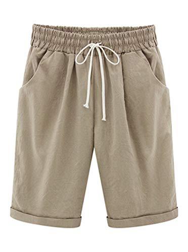 Elonglin Damen Bermuda Shorts Baumwolle Knielang Sommer Kurze Hose mit Tunnelzug Frauen Große Größen Locker Stretch Khaki DE L(Asie XXL) - Stretch-shorts Khaki