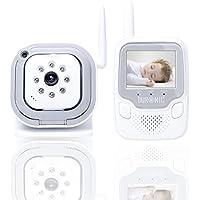 Baby monitor wireless 2.4GHz display full color, con rilevamento suoni e visione notturna.