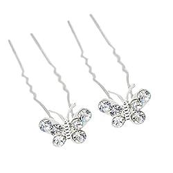 Youbetter 6 Pcs Diamond Butterfly Hair Hairpin Wedding Hair Pins Bridesmaid Crystal Bridal Hair Clips