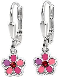 CLEVER SCHMUCK Silberne Ohrhänger 22 mm mit Blume 6 mm pink rosa abgestuft mit Zirkonia rot STERLING SILBER 925 für Kinder