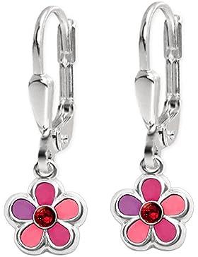 CLEVER SCHMUCK Silberne Ohrhänger 22 mm mit Blume 6 mm pink rosa abgestuft mit Zirkonia rot STERLING SILBER 925...