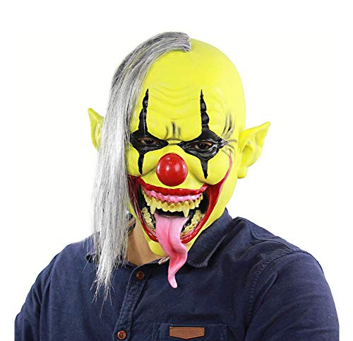 (Latex-Maske Für Halloween, Clown-Maske, Horror-Grüne Gesicht Lange Zunge Maske, Schelmische Horror Maske Gesicht Beängstigend Halloween Kostüm Party, Bar, Maskerade)