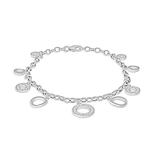 Carissima Gold Women's 18 ct White Gold 0.26 ct Diamond Rings Bracelet of Length 18 cm/7 Inch
