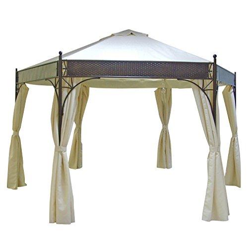 DEGAMO Pavillon LAGOS 6-eckig 350cm Durchmesser, Stahlgestell + Dach wasserdicht naturfarben