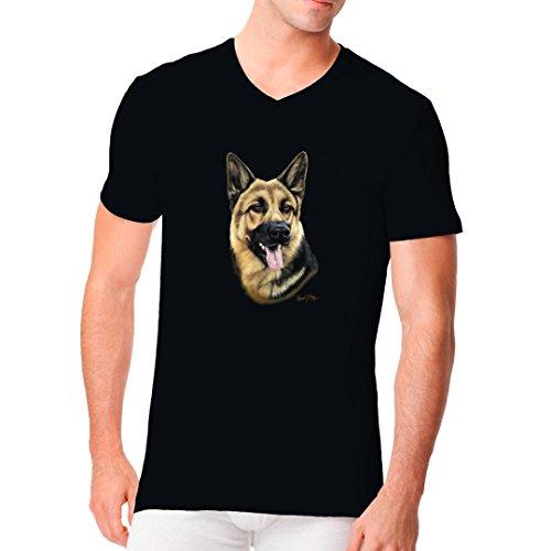 Im-Shirt - T-Shirt Motiv: Deutscher Schäferhund cooles Fun Men V-Neck - verschiedene Farben Schwarz