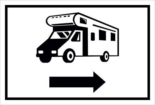Schild – Wohnmobil Pfeil nach rechts– 15x20cm, 30x20cm und 45x30cm – Bohrlöcher Aufkleber Hartschaum Aluverbund -S00205A