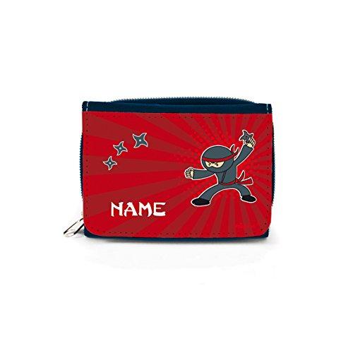 Striefchen® Kinder Geldbörse mit Ninja und dem eigenem Namen mit Geschenkverpackung (Farben Und Ninjago-namen)