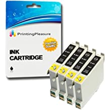 4 XL Compatibles Epson T0441 Cartuchos de tinta para Stylus C64 C66 C68 C84 C84N C84WN C86 CX3600 CX3650 CX4600 CX6400 CX6600 - Negro, Alta Capacidad