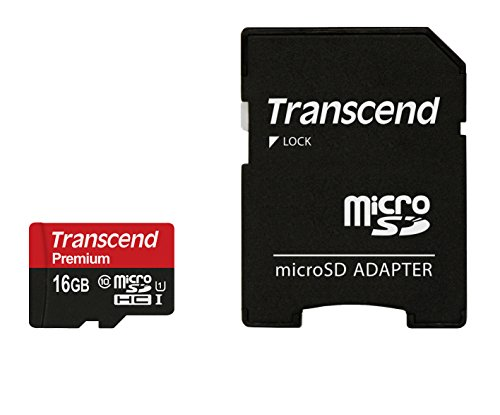 Transcend 16GB Micro SDHC 400x UHS-I Memory Card with Adapter (TS16GUSDU1)