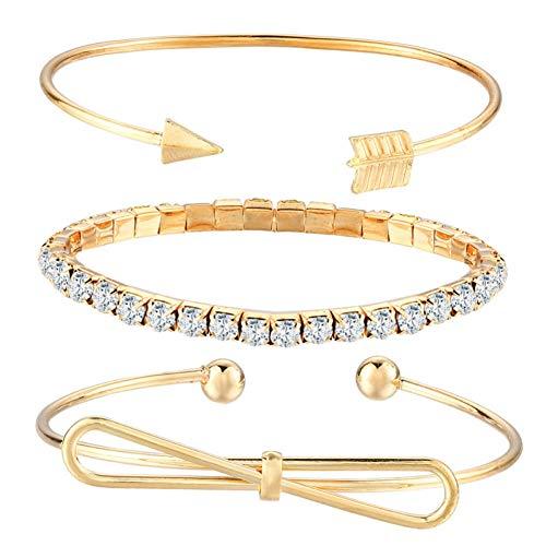 MHOOOA Mode Swivel Pfeil Manschette Armband Set Für Frauen Charme Gold Farbe Armreifen Set Indien Mikro Gepflasterte Kristall Strass Schmuck