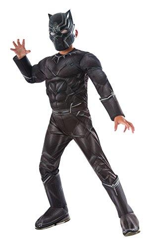 Rubies offizieller Kinder Marvel Panther Deluxe Kostüm Bürgerkrieg - schwarz, groß
