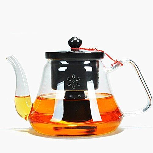Théière à la Vapeur en Verre à thé Blanc Pu'er 1100ml GAODUZI (Couleur : Noir)