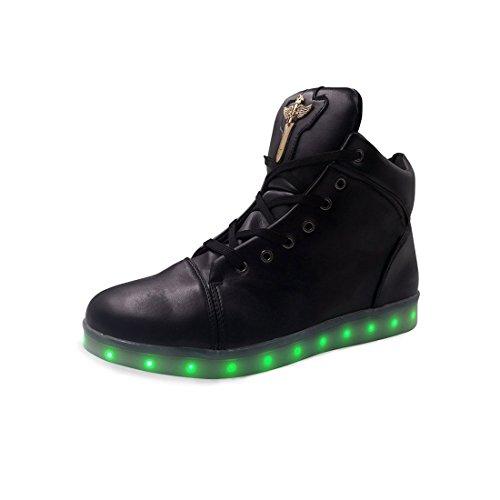 ON LED Schuh USB Aufladen 7 Farbe Leuchtend Sportschuhe Sneakers High-Top Turnschuhe Freizeit Schuhe Fuer Unisex-Erwachsene Herren Damen Kinder
