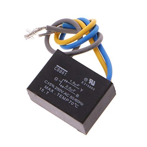 Nero CBB61 1.5uF + 2.5uF 3 fili AC 250V 50/60Hz Condensatore per ventilatore da soffitto