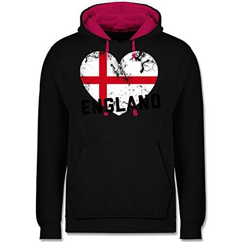 Fußball-WM 2018 - Russland - England Herz Vintage - Kontrast Hoodie Schwarz/Fuchsia