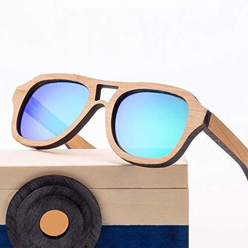 GSSTYJ Sonnenbrille Kids, UV400 Polarized Bamboo Sportbrille bei Reisen, Sport und Outdoor-Aktivitäten (Color : Blue)