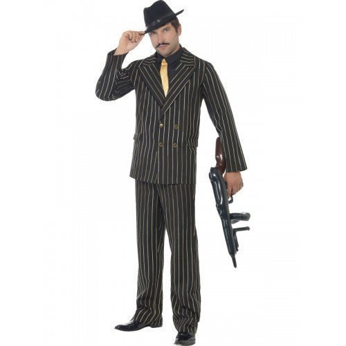 stüm 1920er Gangster Outfit Schwarz & Gold Nadelstreifen Bugsy Malone Great Gatsby Verkleidung M-XL - Schwarz, M 97-102cm (Great Gatsby Kostüm Herren)