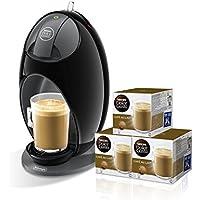 Pack De'Longhi Dolce Gusto Jovia EDG250.B - Cafetera de cápsulas, 15 bares de presión, color negro + 3 packs de café Dolce Gusto Con Leche