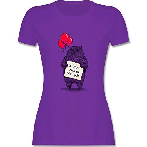 Statement Shirts - Schön, dass es dich gibt - tailliertes Premium T-Shirt mit Rundhalsausschnitt für Damen Lila