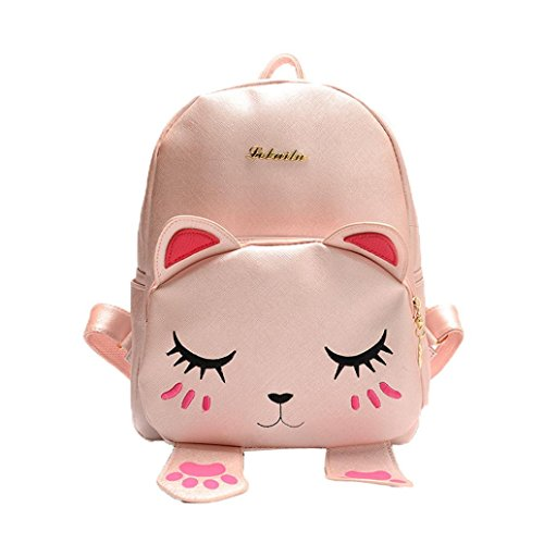 OverDose Katzen Beutel Kursteilnehmer Mädchen Rucksack Schulrucksack lustige Schulter Spielraum Beutel School Backpacks Travel Bag (Pink) (17 Notebook Deluxe-leder)