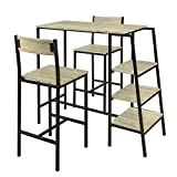 SoBuy OGT16-N Set de 1 Table + 2 Chaises Ensemble Table de Bar Bistrot + 2 Tabourets...