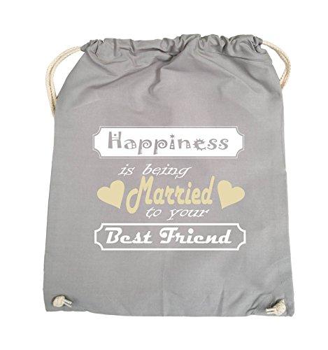 Comedy Bags - Happiness is being married to your best friend - Turnbeutel - 37x46cm - Farbe: Schwarz / Weiss-Neongrün Hellgrau / Weiss-Beige