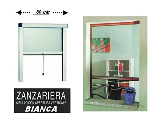 Zanzariera a rullo in alluminio per finestre con profilo riducibile/regolabile avvolgimento verticale con frizione 80x170cm Bianca