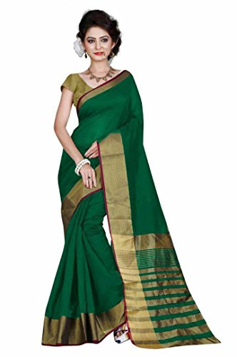 Indian Fashionista women's Banarasi Cotton Saree with unstiched Blouse Piece