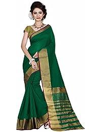 Indian Fashionista Women's Banarasi Cotton Saree with Unstiched Blouse Piece(Green,MHVR145-1740-3)