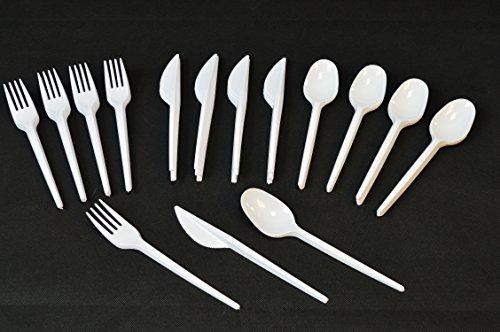 tik Messer + Gabel + Löffel Einweg Besteck Weiß Party Feier Fete Weiss Plastikmesser und Plastikgabel Plastikgabeln Plastiklöffel ()