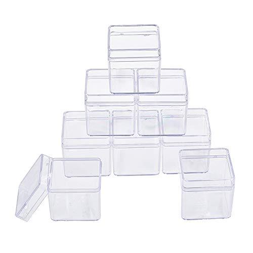 BENECREAT 18 PACK Square Kunststoff-Aufbewahrungsbehälter mit hoher Transparenz für Schönheitsartikel, kleine Perlen, Schmuckzubehör (4 x 4 cm x 4 cm)