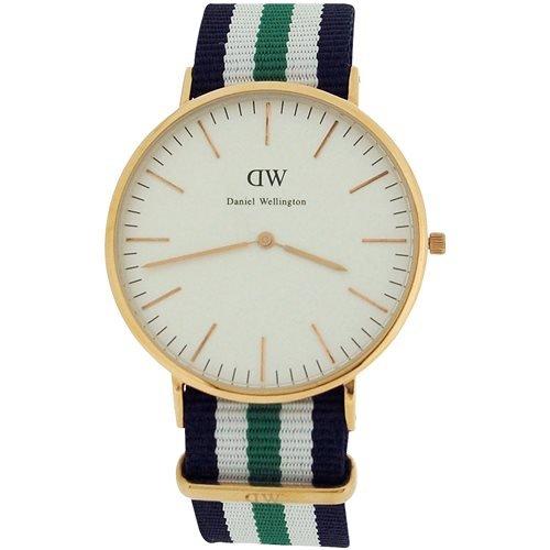 Daniel Wellington Gents White Dial, Red, White & Green Nylon Strap Watch 0108DW