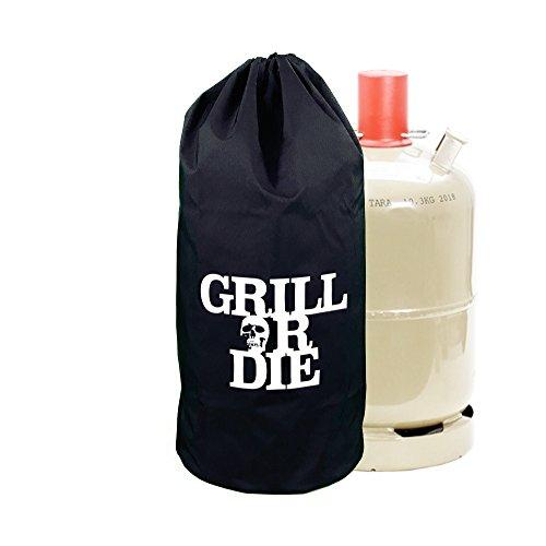 GRILL OR DIE® Gasflaschen Abdeckung 11kg ★ schwarz mit Aufdruck in Premium-Qualität ★ Abdeckhaube (11kg Gasflasche, Schwarz)