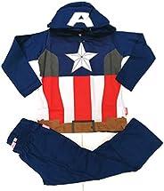 Supereroi Pigiama Capitan America con Cappuccio Staccabile Bambino,Costume Carnevale (Blu Royal)