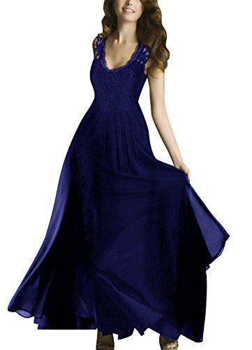 SMITHROAD Damen Maxikleid Abendkleid Ballkleid Spitzenkleid Bodenlang Weinrot Schwarz Blau Gr. S bis 2XL Blau