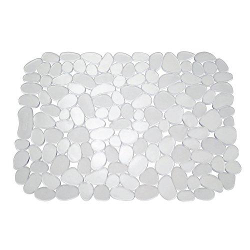 InterDesign Pebblz Protector de fregadero, alfombrilla escurreplatos grande en plástico, salvaplatos recortable para pila, transparente