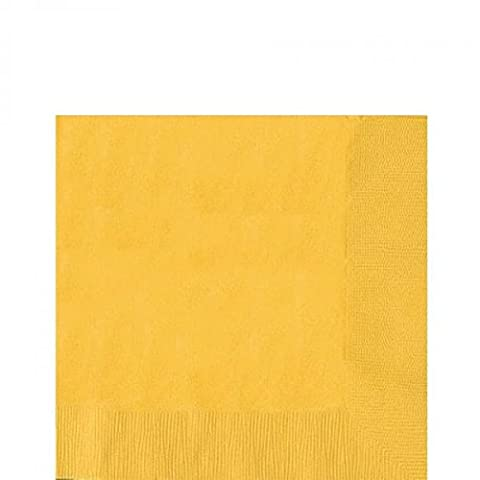 Amscan 33 cm 2-Ply Luncheon Napkins, Sunshine Yellow