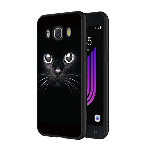 ZhuoFan Coque Samsung Galaxy J7 2016, Etui en Silicone Noir avec Motif 3D Fun Fantaisie Dessin Antichoc TPU Gel Housse de Protection Case Cover Bumper Coque pour Téléphone SamsungJ7, Chat Noir