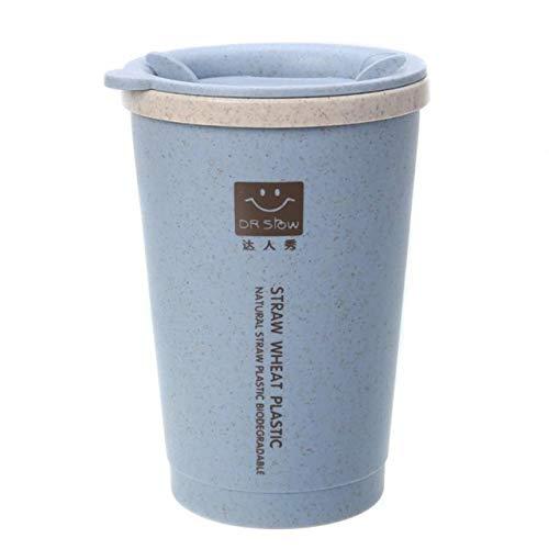 SAWUDY Thermoskanne 280ML doppelwandige Isolierung Weizenfaser Stroh Kaffeetasse Reisebecher Auslaufsicher USA Blau (Stroh Edelstahl Usa)