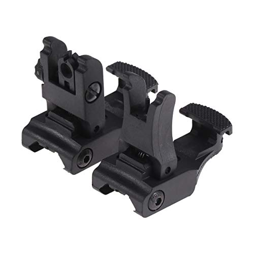 LIOOBO 2pcs Folding Flip Up Front Rear Sights Dual Aperture Backup Sight Device for Hunting Shooting Water Toy Exterior Modified Accessories (Black) -