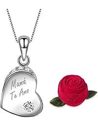 3cccebebeb1b Dawanza-Regalo Día de la Madre Collar Mujer de plata de ley 925-Grabado
